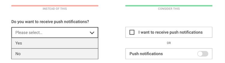 二元选择题用复选框或开关