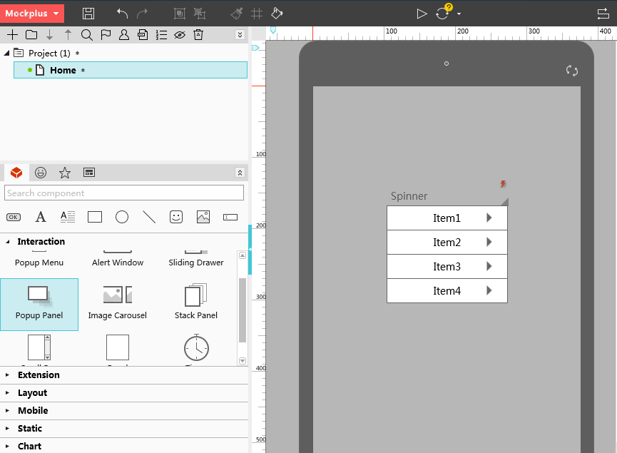 原型设计工具mockplus设计下拉菜单方法二
