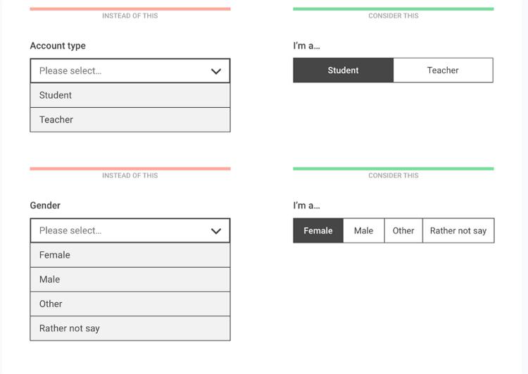 五个以内选项用单选框或分段选择器