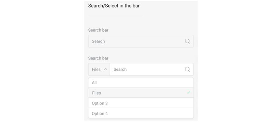 搜索框正常状态和下拉选择状态