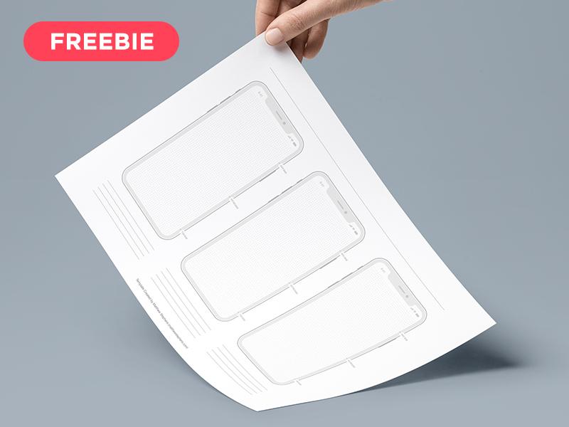 手绘的iPhone X 尺寸的线框图模板