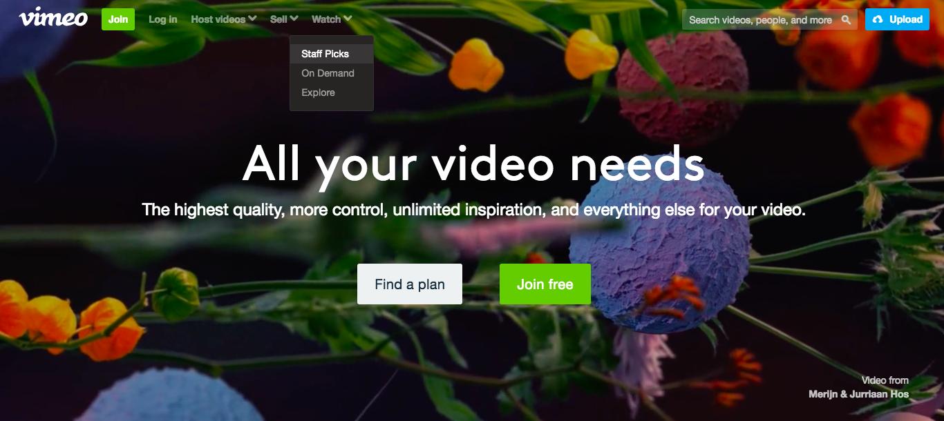 Vimeo网站界面