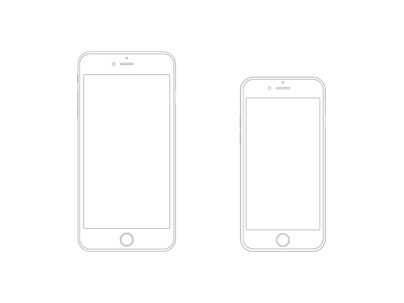 iphone 6 plus and iphone 6 wireframe 设计师:andrea ripamonti