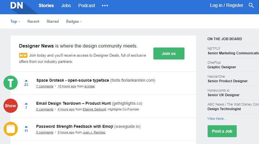 UX设计灵感类网站-Designer News