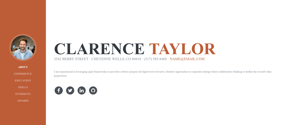 Resume网站模板
