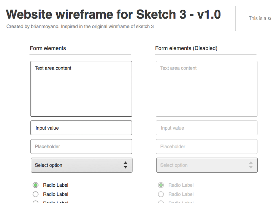 Wireframe for Sketch 3 Resource