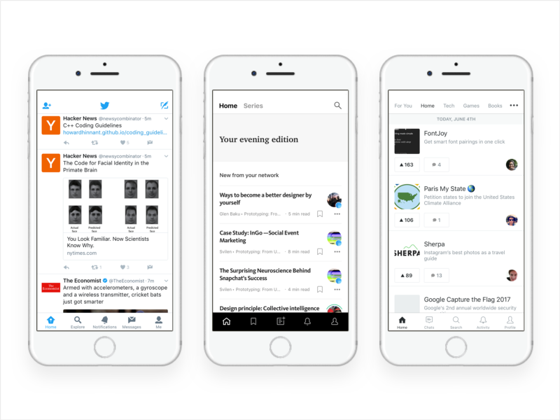从左到右,Twitter,Medium,ProductHunt