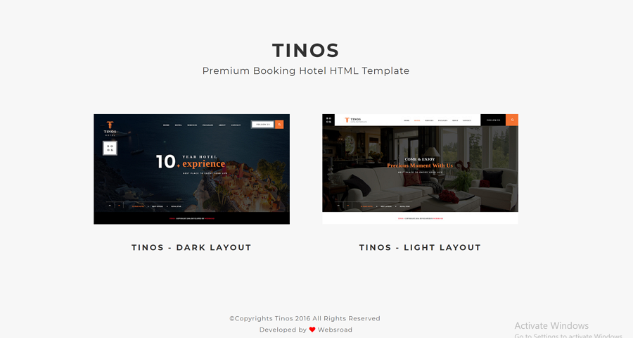 高级预订酒店的HTML模板-Tinos