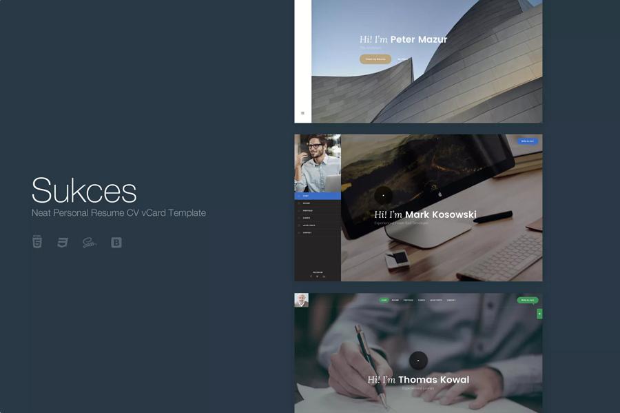 HTML5 / CSS3个人简历网站着陆页模板-Sukces