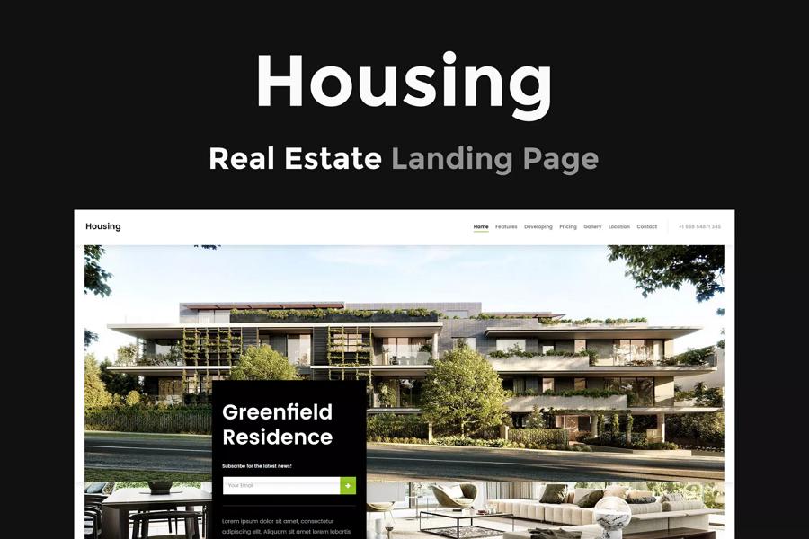 视差滚动设计的房地产着陆页面模板-Housing