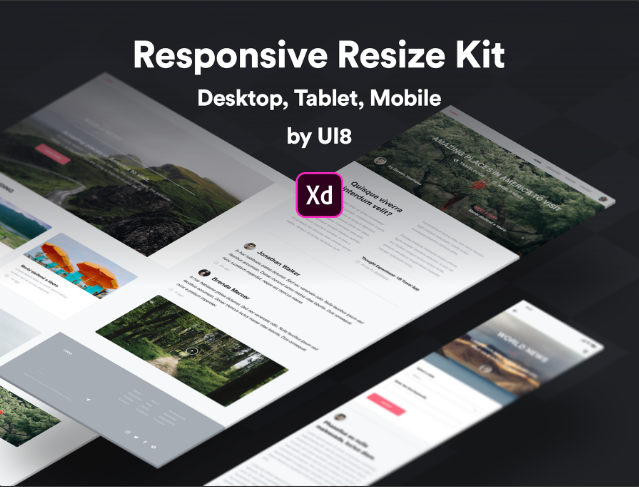 8. A handy collection of web, tablet & mobile responsive screens for XD