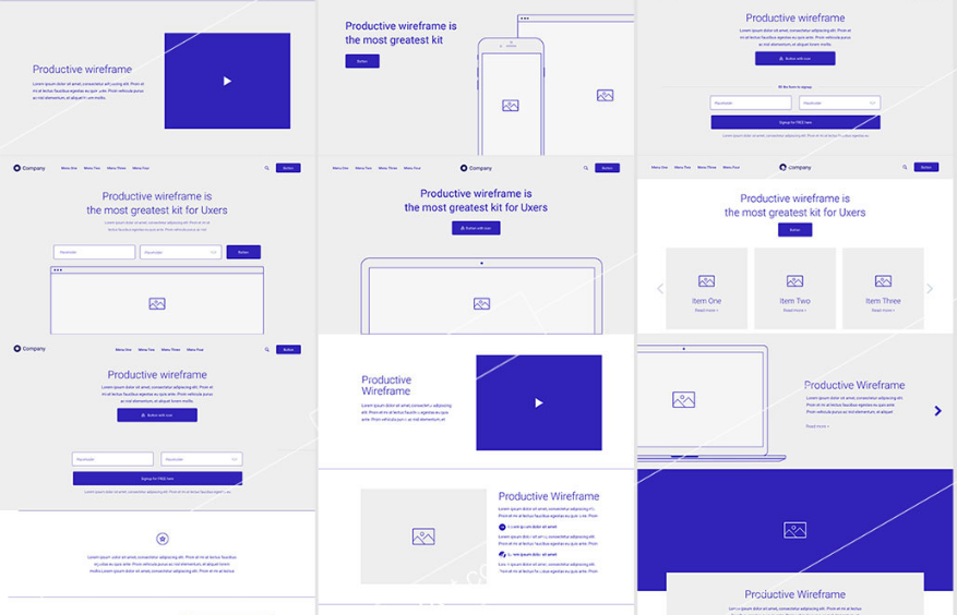 19. Full wireframe Kit for Adobe XD - Productive Wireframe