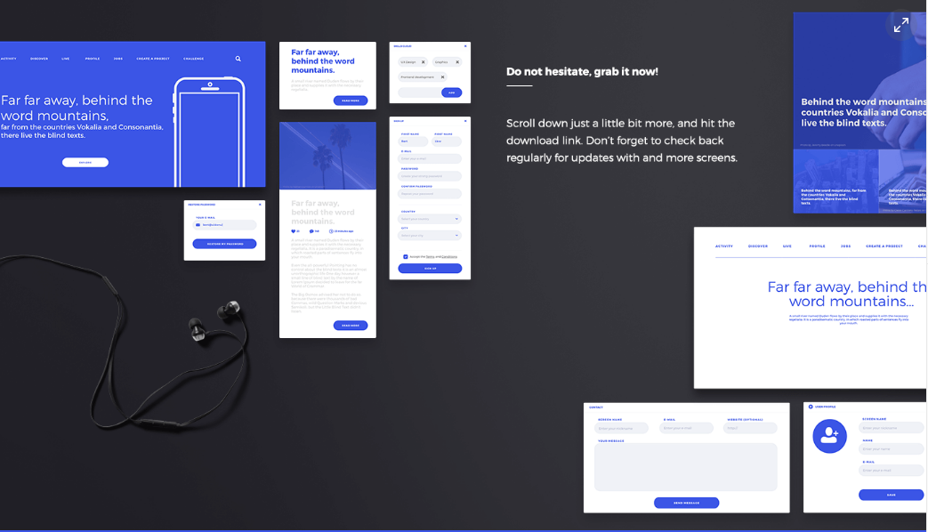 17. Klein wireframe kit for Adobe XD - Free