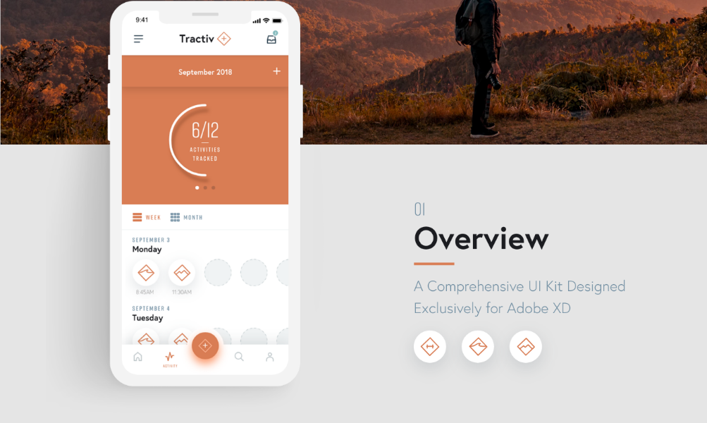 12. Tractiv UI Kit for Adobe XD