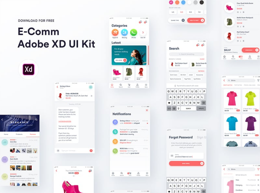 26. E-Comm Adobe XD UI Kit