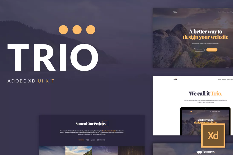 2.Trio UI Kit for Adobe XD