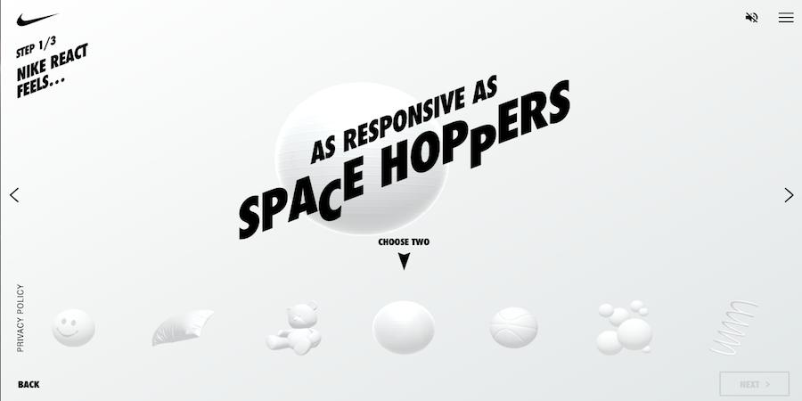 Nike Reator 网站界面
