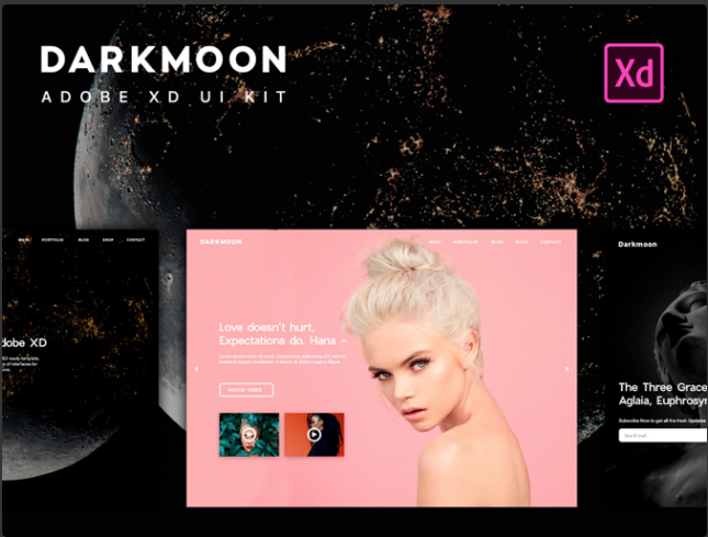 3.Darkmoon UI Kit for Adobe XD. UI & UX Design
